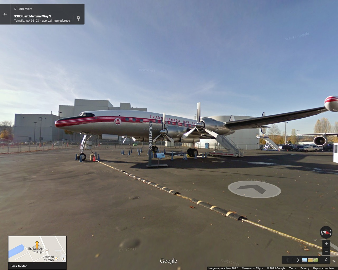 Google Street Map of the Museum of Flight in Seattle.