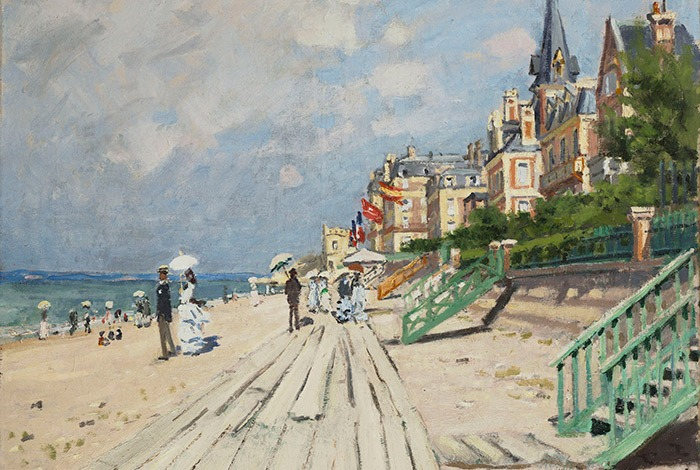 Claude Monet, The Beach at Trouville, c. 1870. Oil on canvas; 22 x 25-5/8 in. Wadsworth Atheneum Museum of Art; The Ella Gallup Sumner and Mary Catlin Sumner Collection Fund.