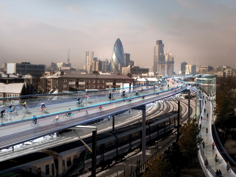 Rendering of the proposed SkyCycle in London. Image courtesy Foster + Partners.