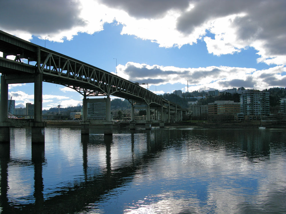 Looking towards Southwest Downtown Portland across the Willamette River with some fantastic reflections on the river.