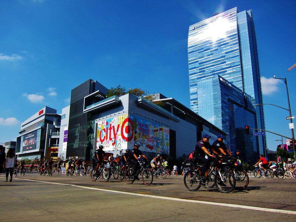 Biker riders during CicLAvia