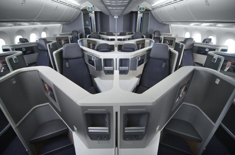 Business Class on board American Airline's new Boeing 787. Image courtesy of American Airlines.