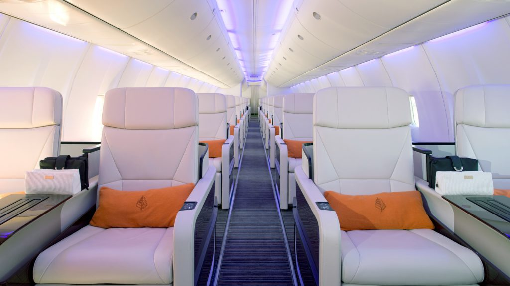 Contemporary design combined with. luxurious finishes is featured throughout the aircraft. The interior is light and fresh, featuring carefully placed contrasts in color palette and texture.  Courtesy of the Four Seasons Hotels and Resorts/Kirsten Holst.