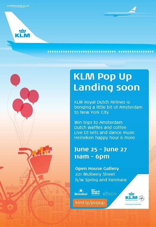 KLM Royal Dutch Airlines New York City Pop Up Shop Invitation.