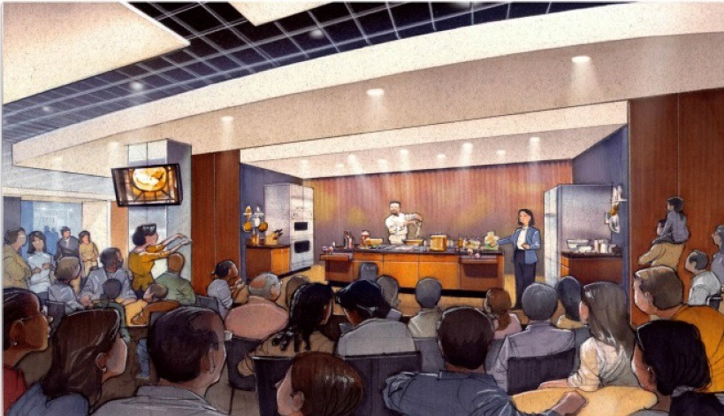 Rendering of the Kitchen Stage where Food Friday's will be held.