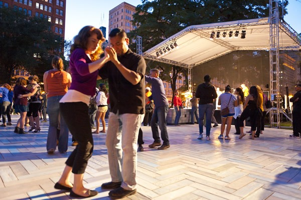 Couple Dancing at Chicago SummerDance in the Spirit of Music Garden in Grant Park. Image courtesy of the City of Chicago.