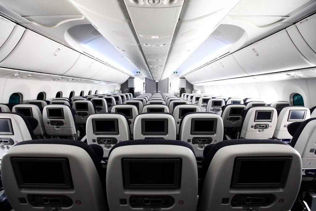 World Traveller onboard the Boeing 787 Dreamliner at London Heathrow. (Photo by Nick Morrish/British Airways)
