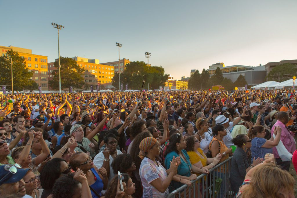 A crowd of more than 60,000 gathered for music, food, and fun at the 2014 Berklee Beantown Jazz Festival. Image credit: Sean Hafferty