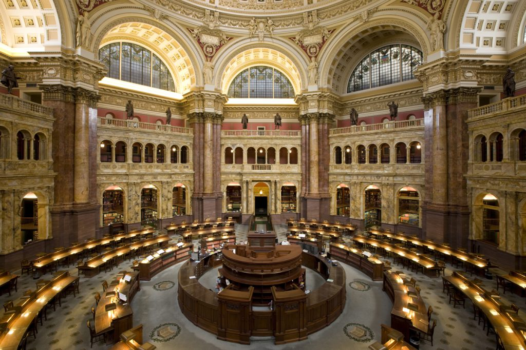 The Main Reading Room at the Library of Congress. Photographer: Highsmith.