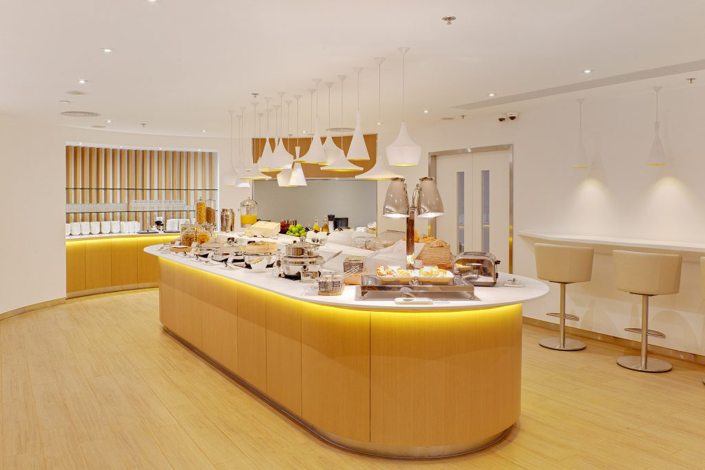 A variety of food options at the SkyTeam premium lounge in Hong Kong,