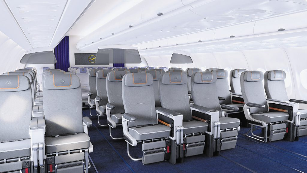 Premium Economy on board an Airbus 340 series aircraft. Image courtesy of Lufthansa.