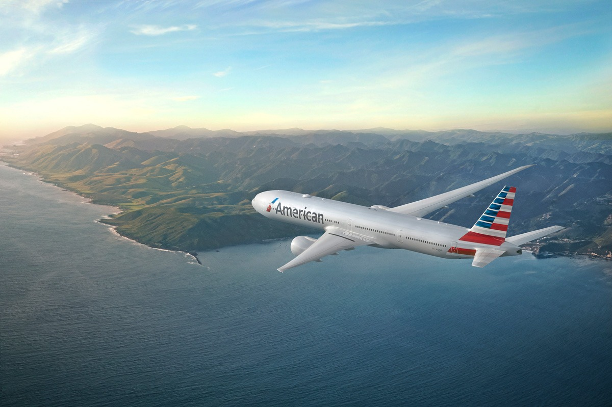 American Airlines's Boeing 777 in flight.