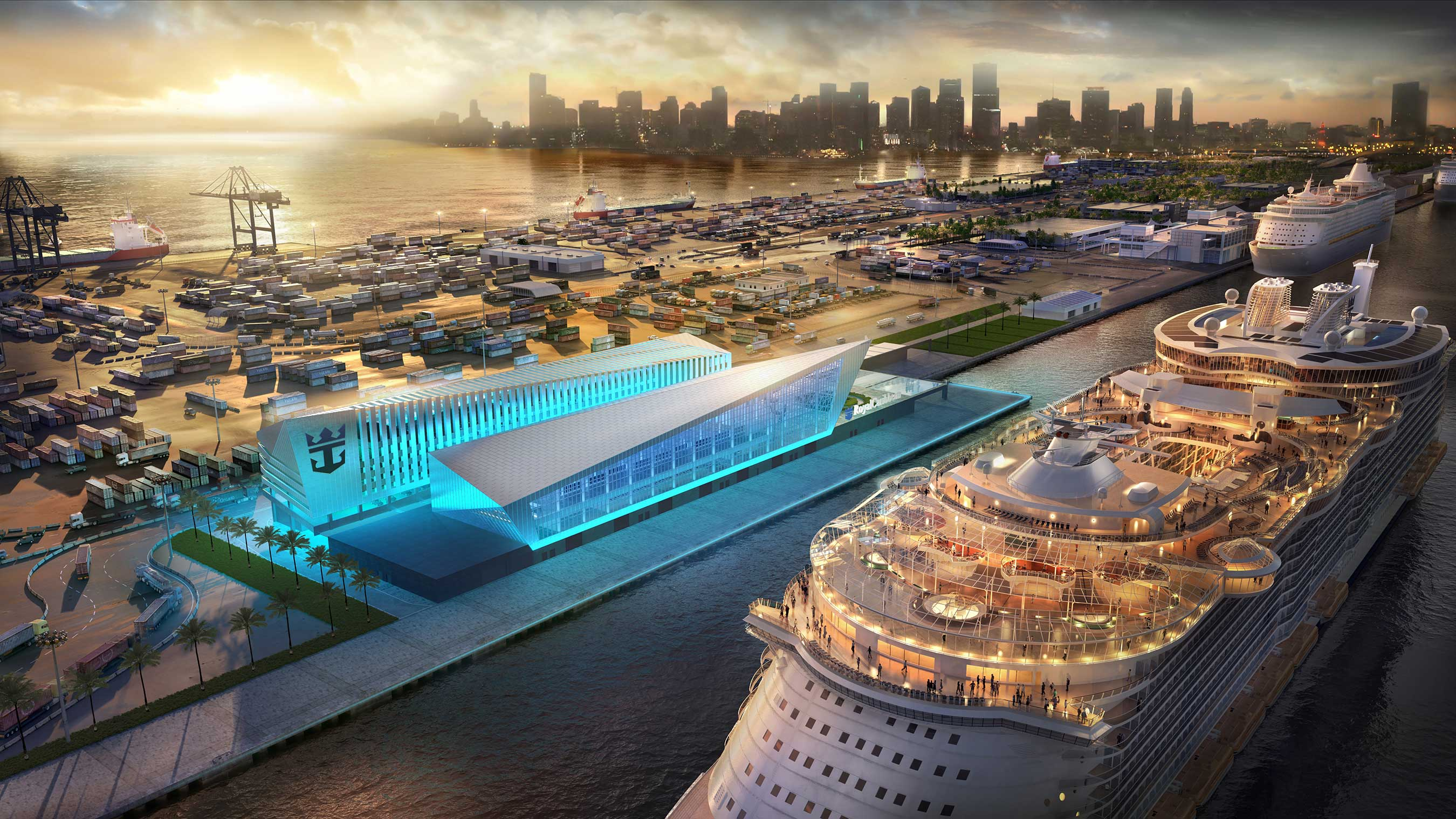 Royal Caribbean Cruises Ltd. (RCL), in agreement with Miami-Dade County, will build and operate a new, world-class terminal at PortMiami. The iconic building is scheduled for late 2018. Image: Royal Caribbean
