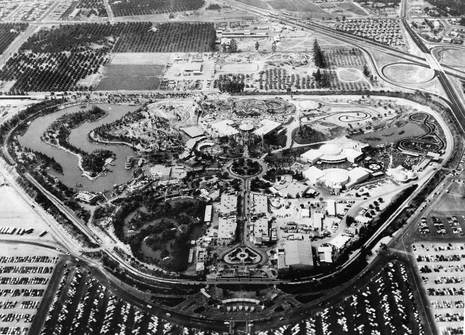 Aerial view of Disneyland in 1956.