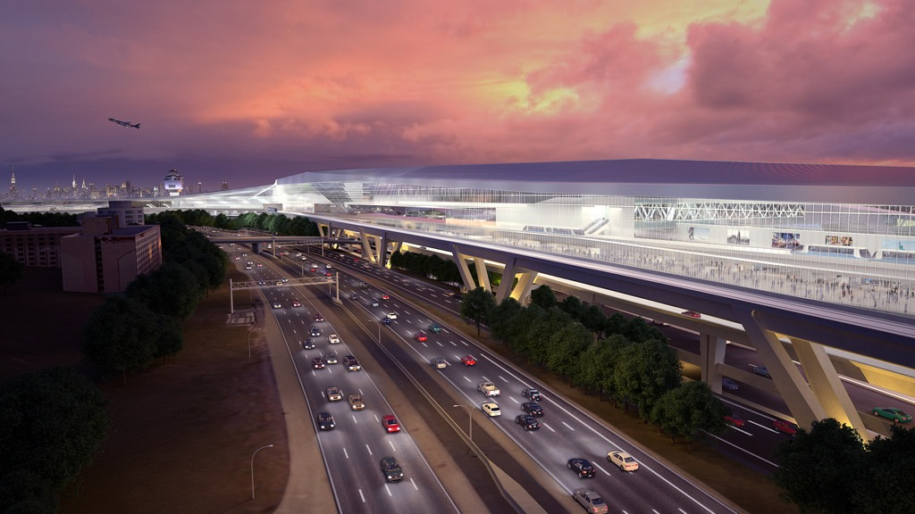 The parkside rendering of the new LaGuardia airport. Image from NY State Governor's Office.