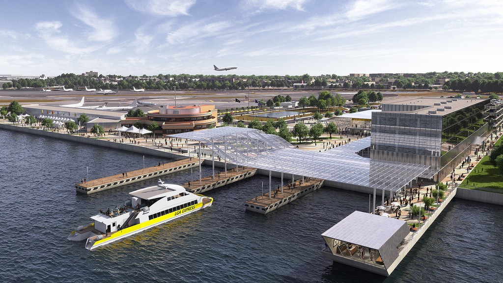 The Marine Air Terminal ferry station rendering at the new LaGuardia airport. Image from NY State Governor's Office.