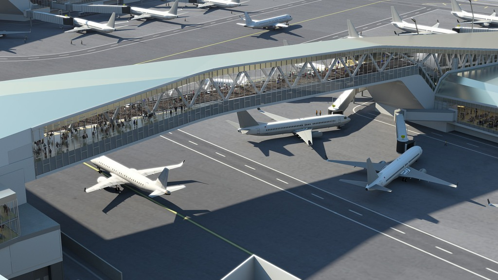 The pedestrian walkway rendering at the new LaGuardia airport. Image from NY State Governor's Office.