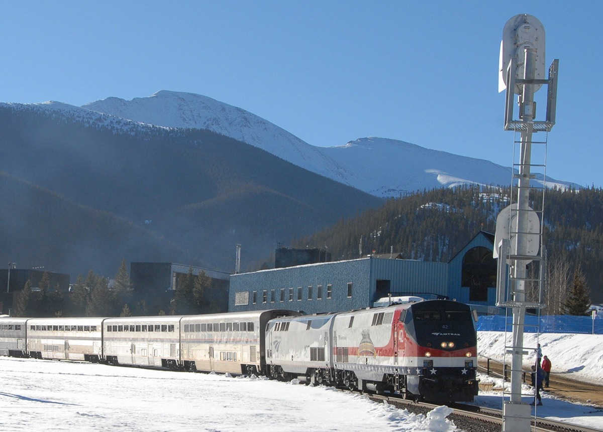 The Amtrak Winter Park Express departing Fraser-Winter Park heading for Denver, CO. Photo: Darrell Arndt