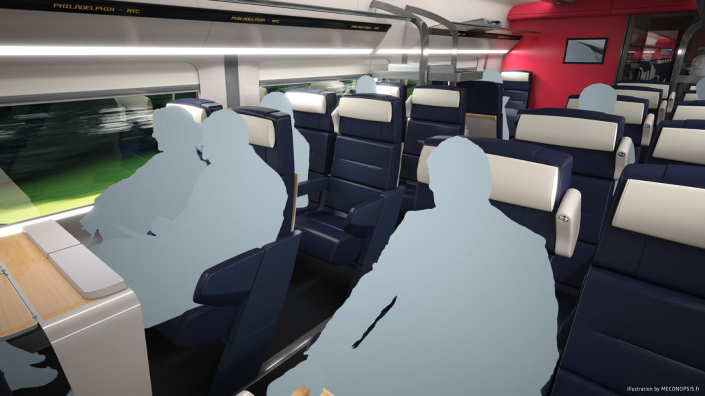 Interior of Business Class.  © Alstom SA, 2016 © Meconopsis by Trimaran. All rights reserved. Avelia Liberty high-speed train.