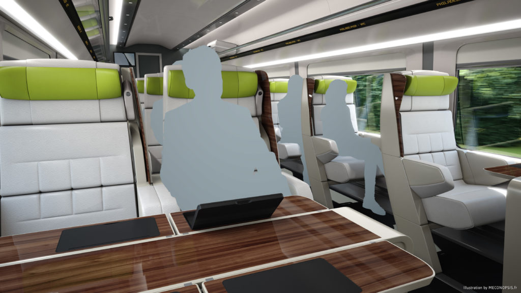 Interior of First Class.  © Alstom SA, 2016 © Meconopsis by Trimaran. All rights reserved. Avelia Liberty high-speed train.