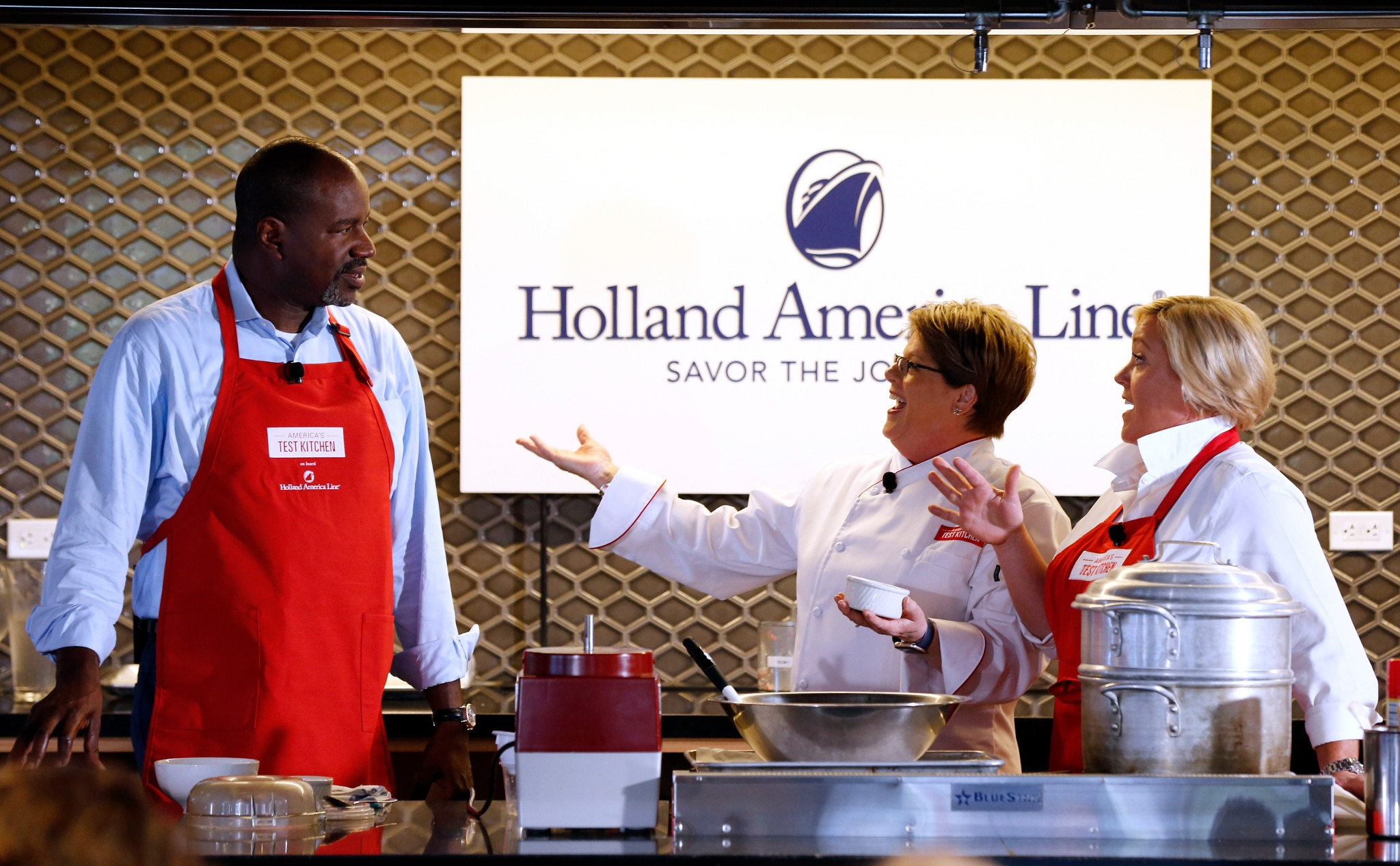 Holland America Line announces new culinary partnership with America's Test Kitchen during an event at the Institute of Culinary Education on Tuesday, September 20, 2016 in New York. Photo: Adam Hunger