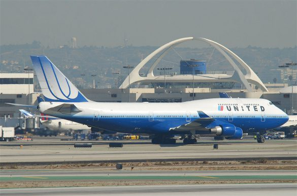 United's 747 in the blue tulip scheme at Los Angeles International Airport.