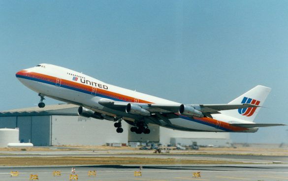 United's 747 in the tri-stripe scheme departing San Francisco International Airport.