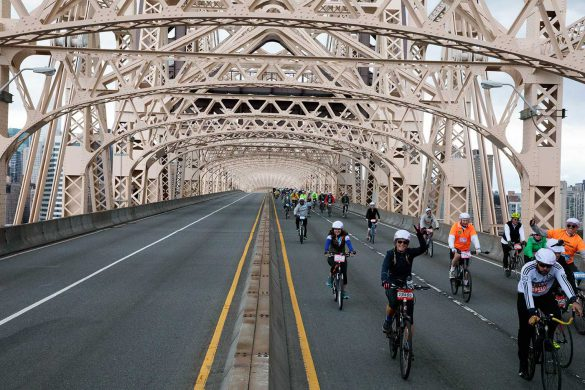 Midway through the ride, riders are still smiling. Image: Bike NYC