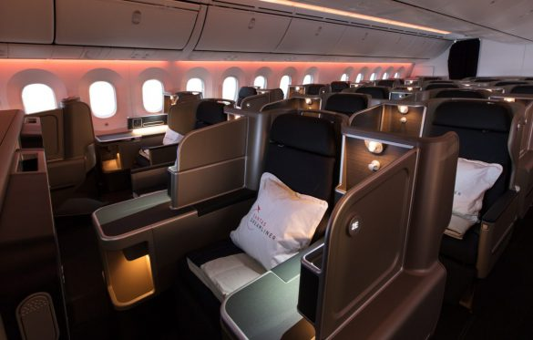 Business cabin on board the Qantas Boeing Dreamliner. Image: Qantas