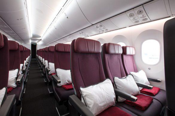 Economy cabin on board the Qantas Boeing Dreamliner. Image: Qantas