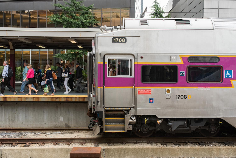 MBTA commuter train in Boston