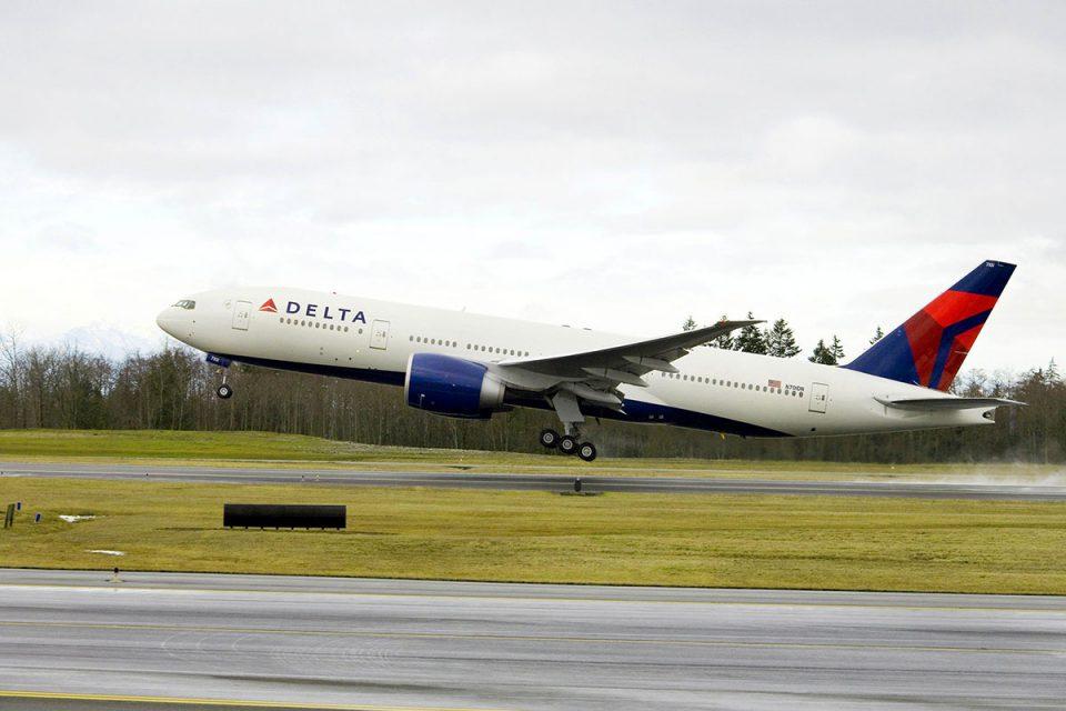 Delta Boeing 777 taking off.