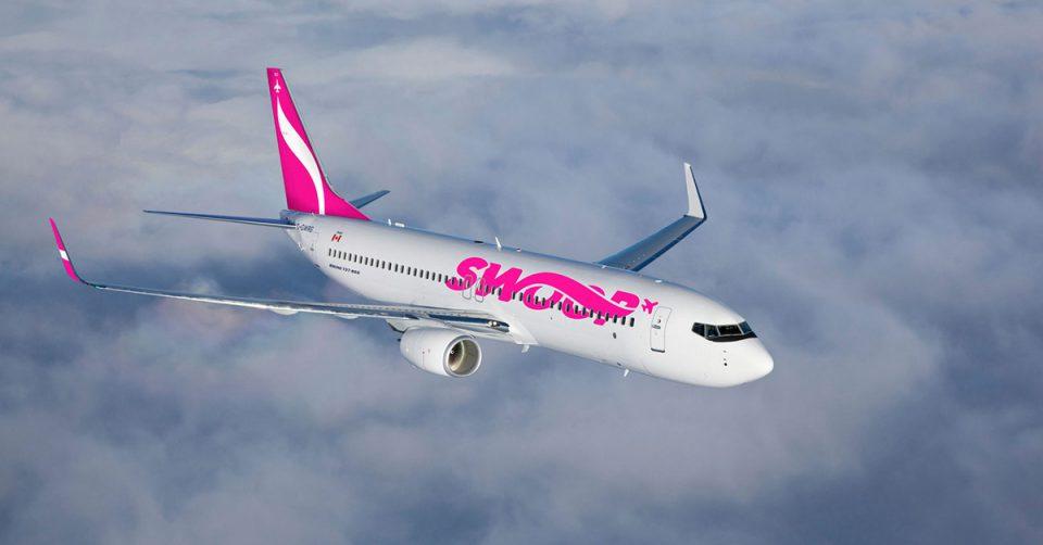 Swoop Airline plane in flight