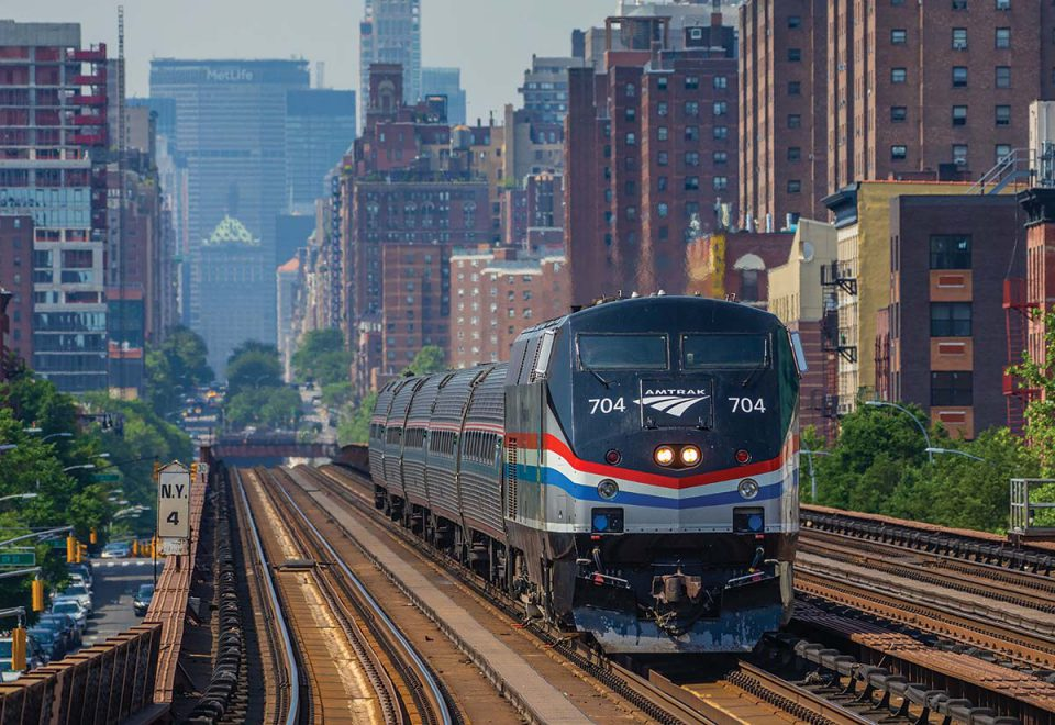 Amtrak train in New York City