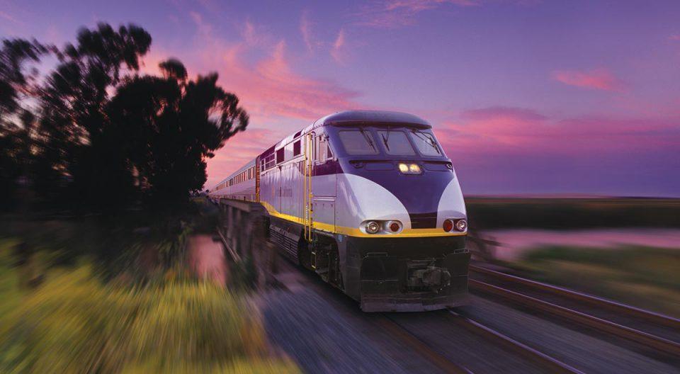 Amtrak train in California