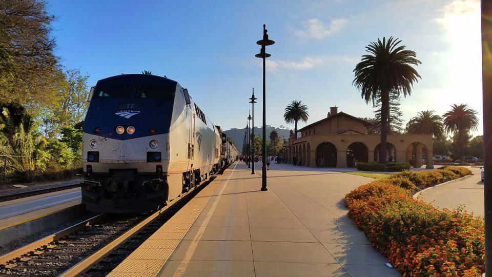 Amtrak train at Santa Barbara
