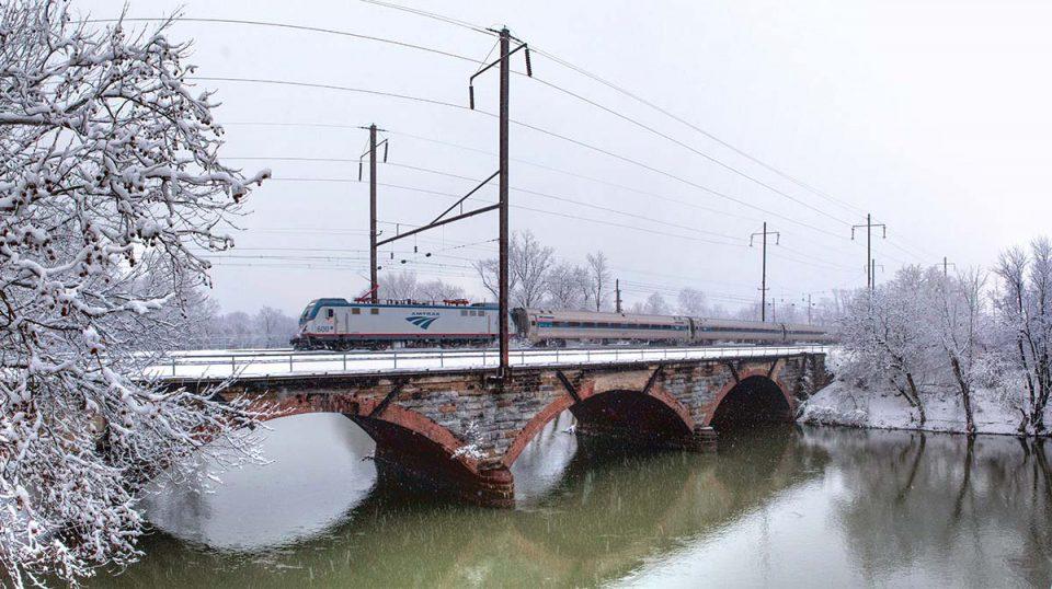Amtrak train in snow