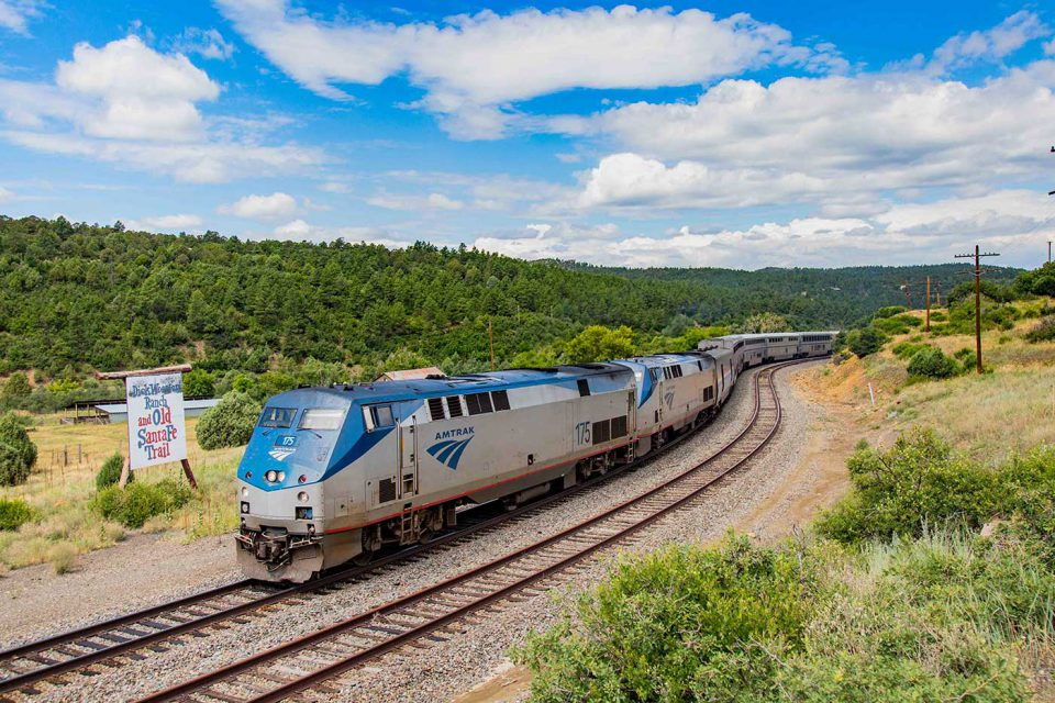 Amtrak train in New Mexico