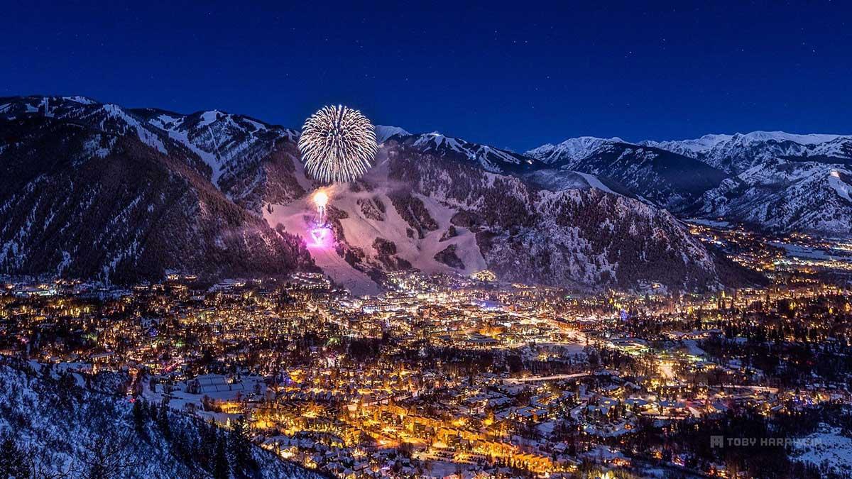Aspen, Colorado at night