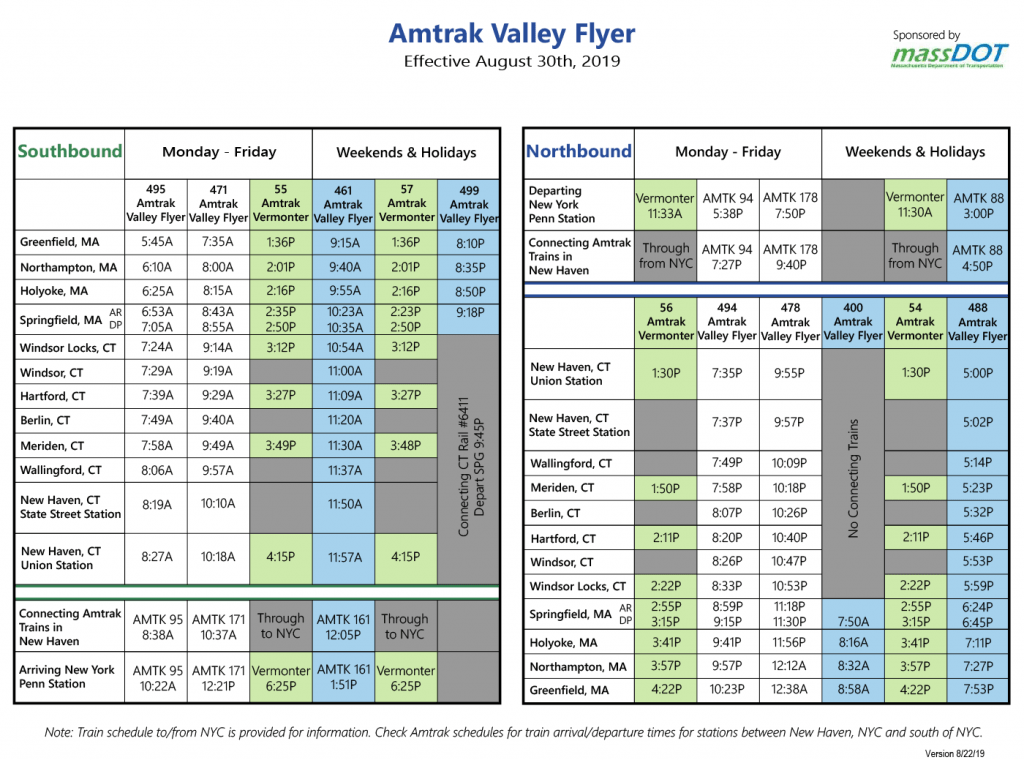 Amtrak Valley Flyer schedule