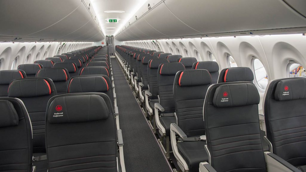 Economy Cabin onboard Air Canada's A220.