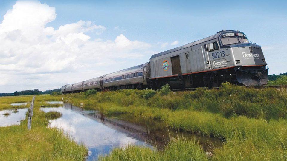 Amtrak Downeaster traveling through a marsh.