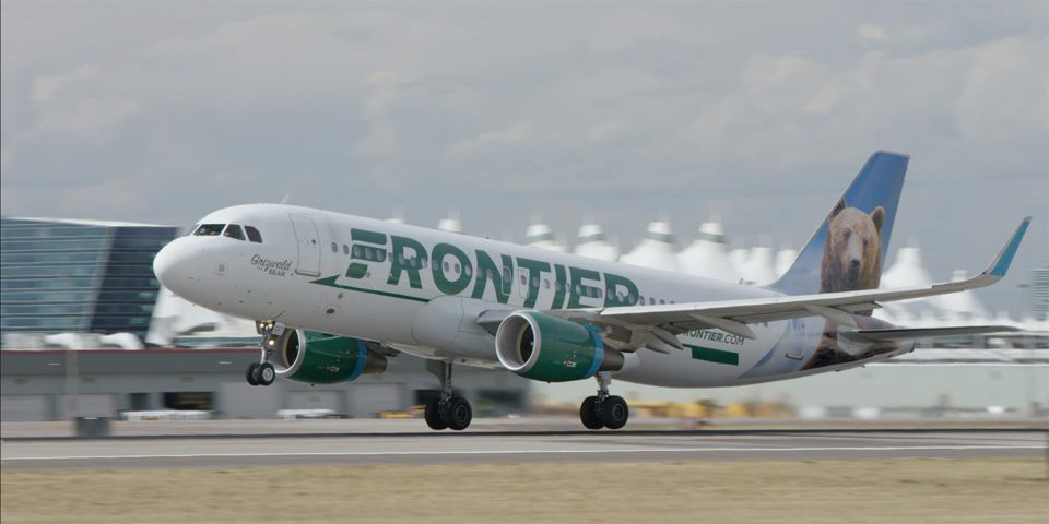Frontier Airlines taking off from Denver.