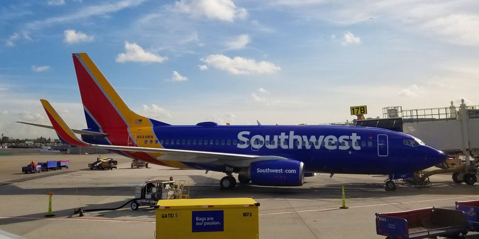 Southwest Airlines flight at Los Angeles