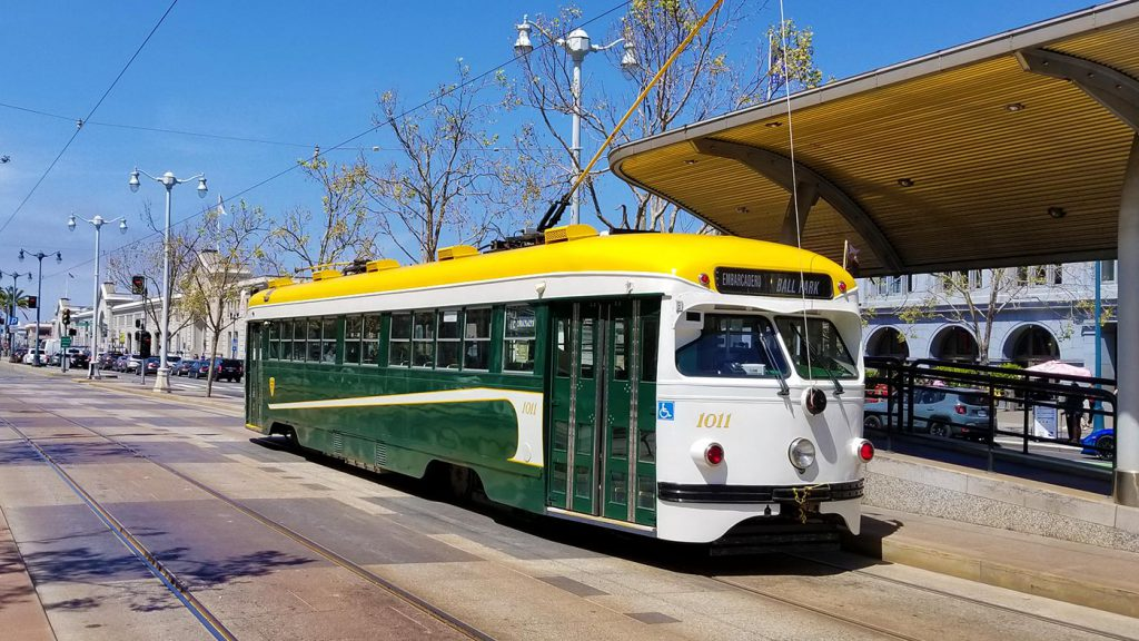 A historic Muni PCC car