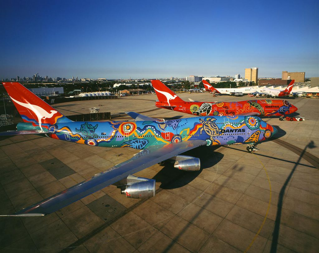 Qantas 747s in Indigenous liveries.