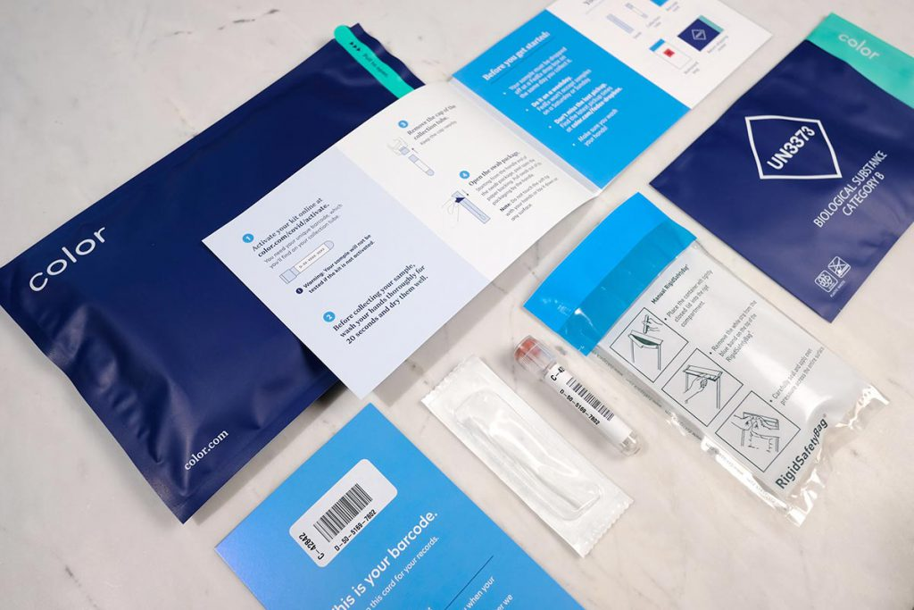 The blue colored COVID-19 testing kit packaging from Color, a health care group.