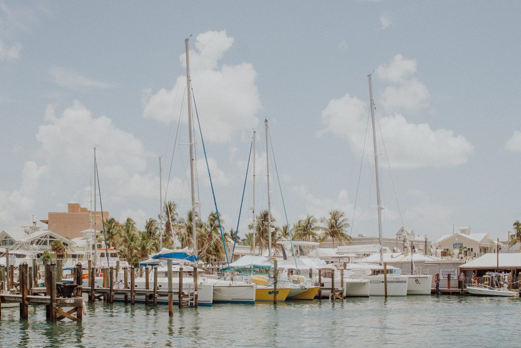 Sailboats docked in Key West.