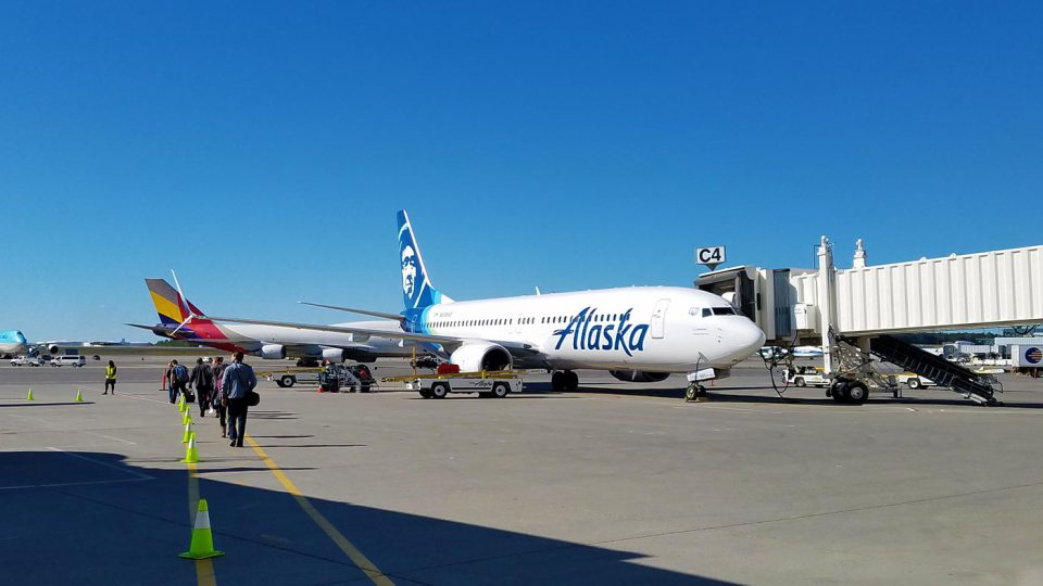 Alaska Airlines' Boeing 737 at the gate in Anchorage.