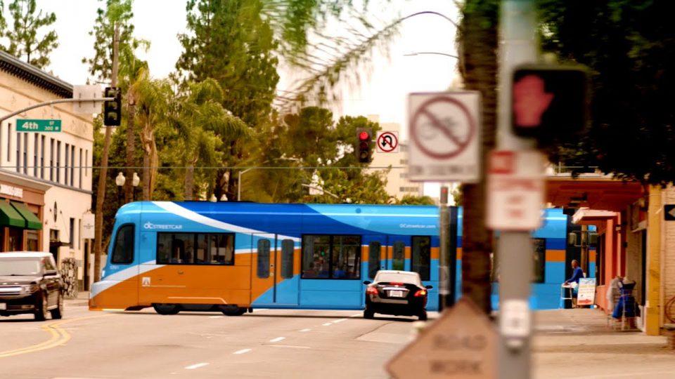 Rendering of future OC Streetcar en route through Santa Ana, California.